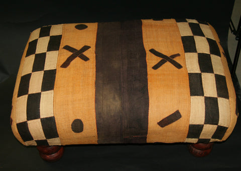 African Kuba Bench/Coffee Table/Ottoman With Vintage Kuba Cloth 2
