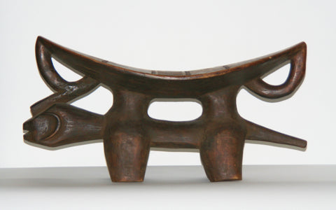 African Headrest Dogon Zoomorphic Stool Carved in Mali, West Africa