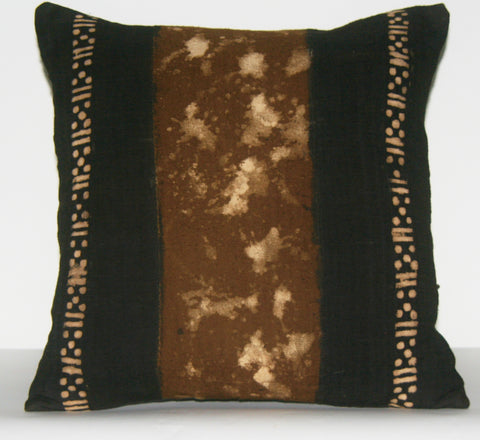 "African Mud Cloth Pillow Cover Black Tie-Dyed Hand Painted Lightly Mauve Brown Colors 16.5"" X 16"""