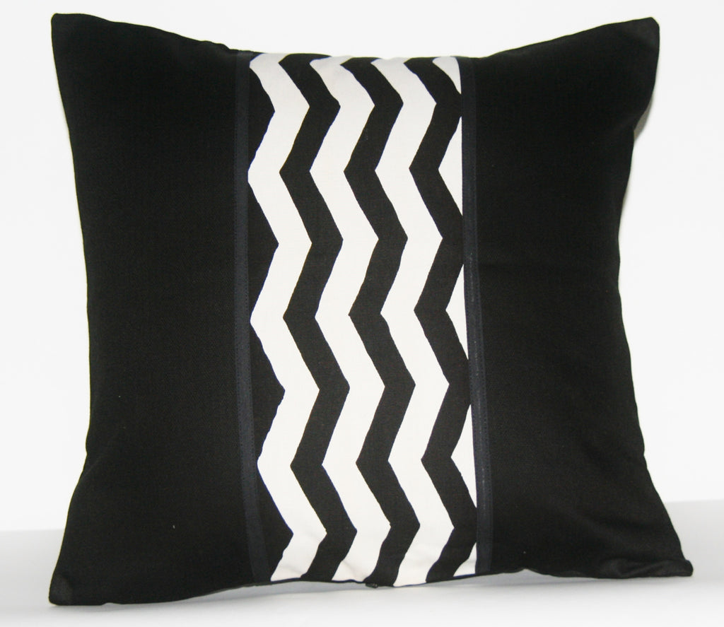 "African Wave Designer Pillow Black White Applique 18"" X 18"" Handwoven - Cultures International From Africa To Your Home"