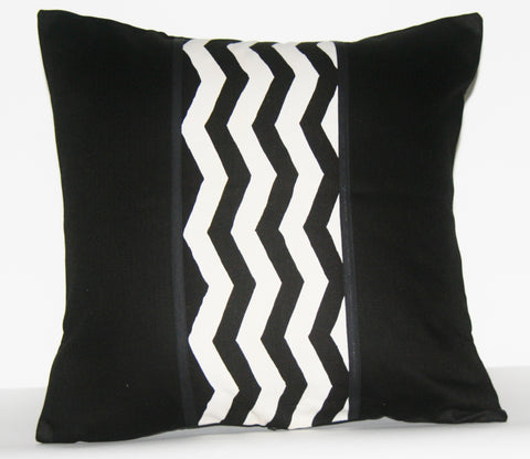 "African Wave Designer Pillow Black White Applique 18"" X 18"" Handwoven"