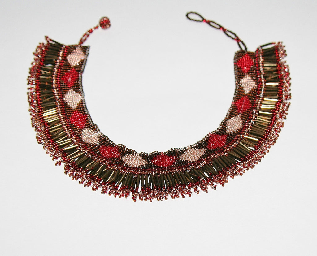 African Princess Beaded Tribal Choker Necklace Red Gold Copper Bronze - Cultures International From Africa To Your Home