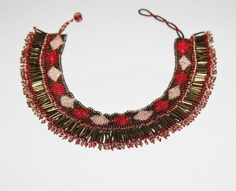 African Princess Beaded Tribal Choker Necklace Red Gold Copper Bronze