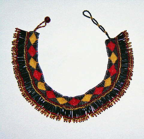 African Princess Beaded Choker Necklace Black Red Gold