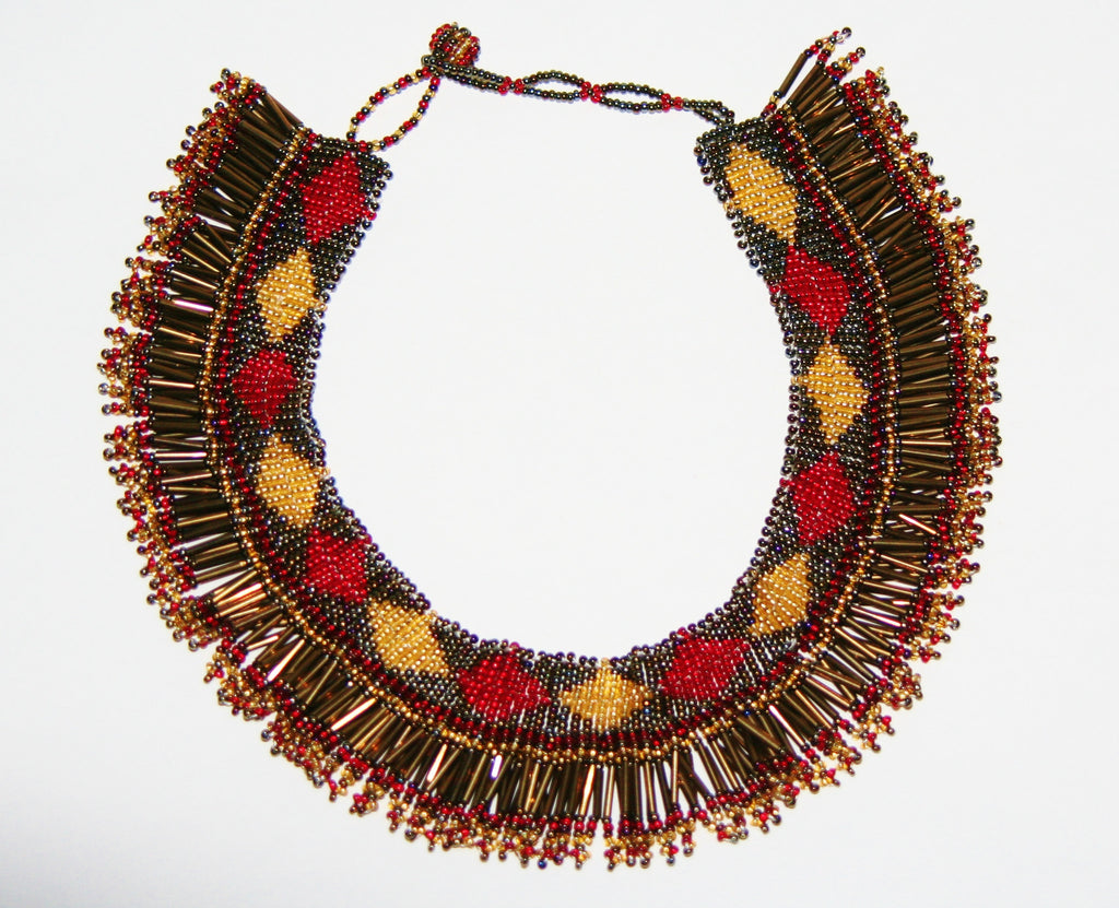 African Princess Beaded Tribal Necklace Red Gold Gray - Cultures International From Africa To Your Home