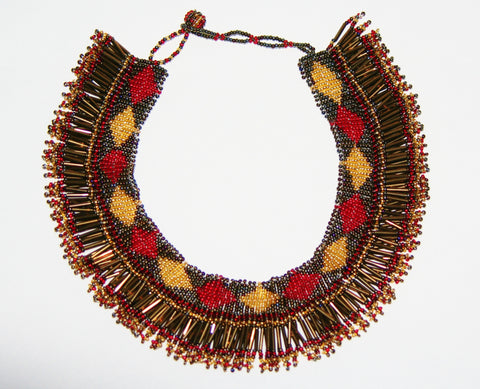 African Princess Beaded Tribal Choker Necklace Red Gold Gunmetal Bronze