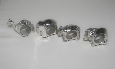 Vintage African Napkin Rings Sterling Elephant, Lion, Leopard, Guinea Fowl - 1 Only - culturesinternational  - 1