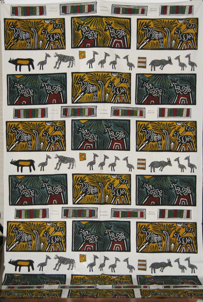 African Art Hand Painted Textile Abstract African Animals/Wall Hanging - Cultures International From Africa To Your Home