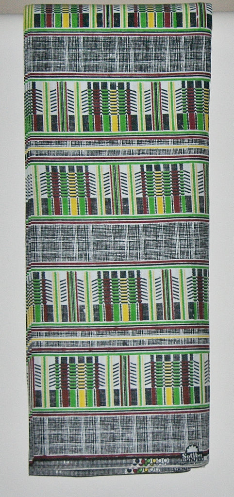 African Fabric Classic Sotiba 12 Yards Green, White, Wine, Yellow, Black - Cultures International From Africa To Your Home