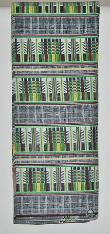 African Fabric Classic Sotiba 12 Yards Green, White, Wine, Yellow, Black