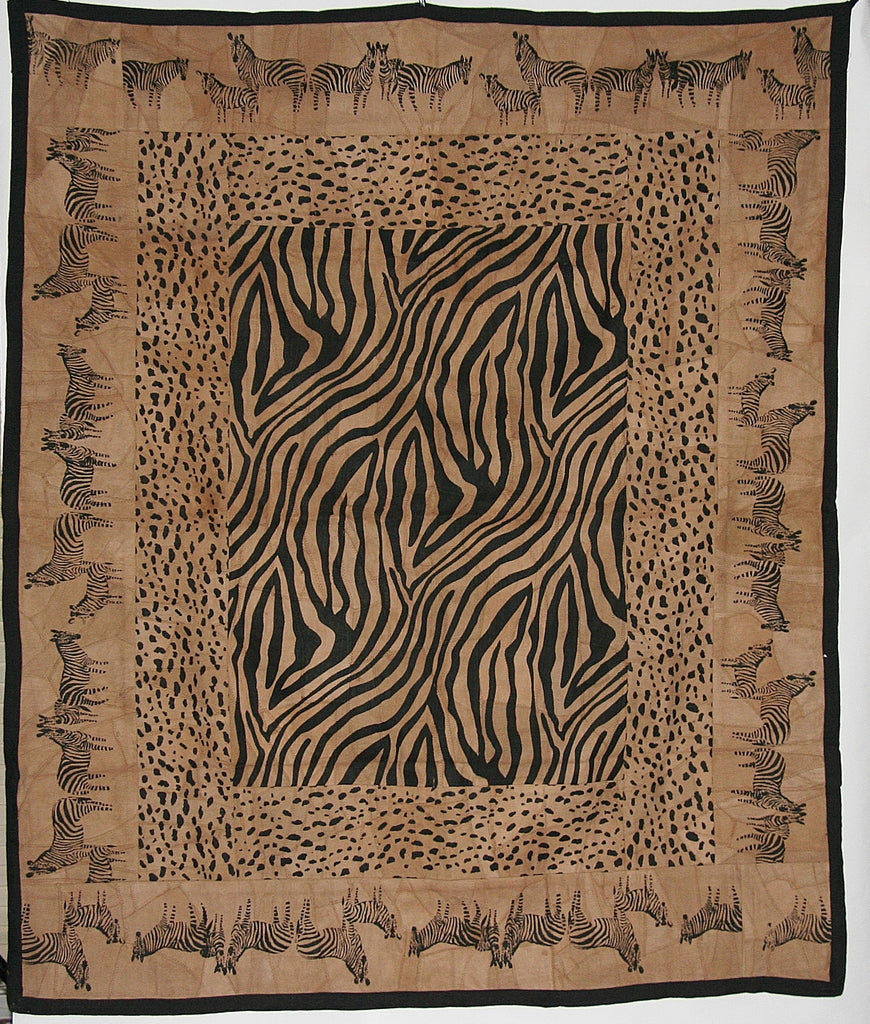 "African Zebra and Leopard Wall Hanging Suede Leather Zebra Design Throw Brown Black 50""W X 60""L - Cultures International From Africa To Your Home"