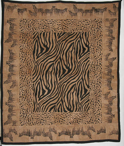 "African Zebra and Leopard Wall Hanging Suede Leather Zebra Design Throw Brown Black 50""W X 60""L"
