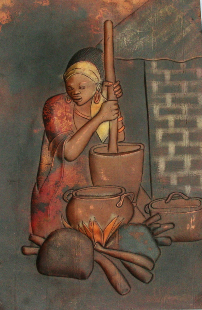 "African Copper Art Tribal Beauty Preparing Food 23""H X 15""W Congo Copper Relief Art - Cultures International From Africa To Your Home"