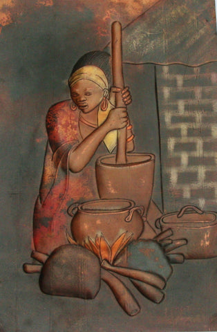 "African Copper Art Tribal Beauty Preparing Food 23""H X 15""W Congo Copper Relief Art"