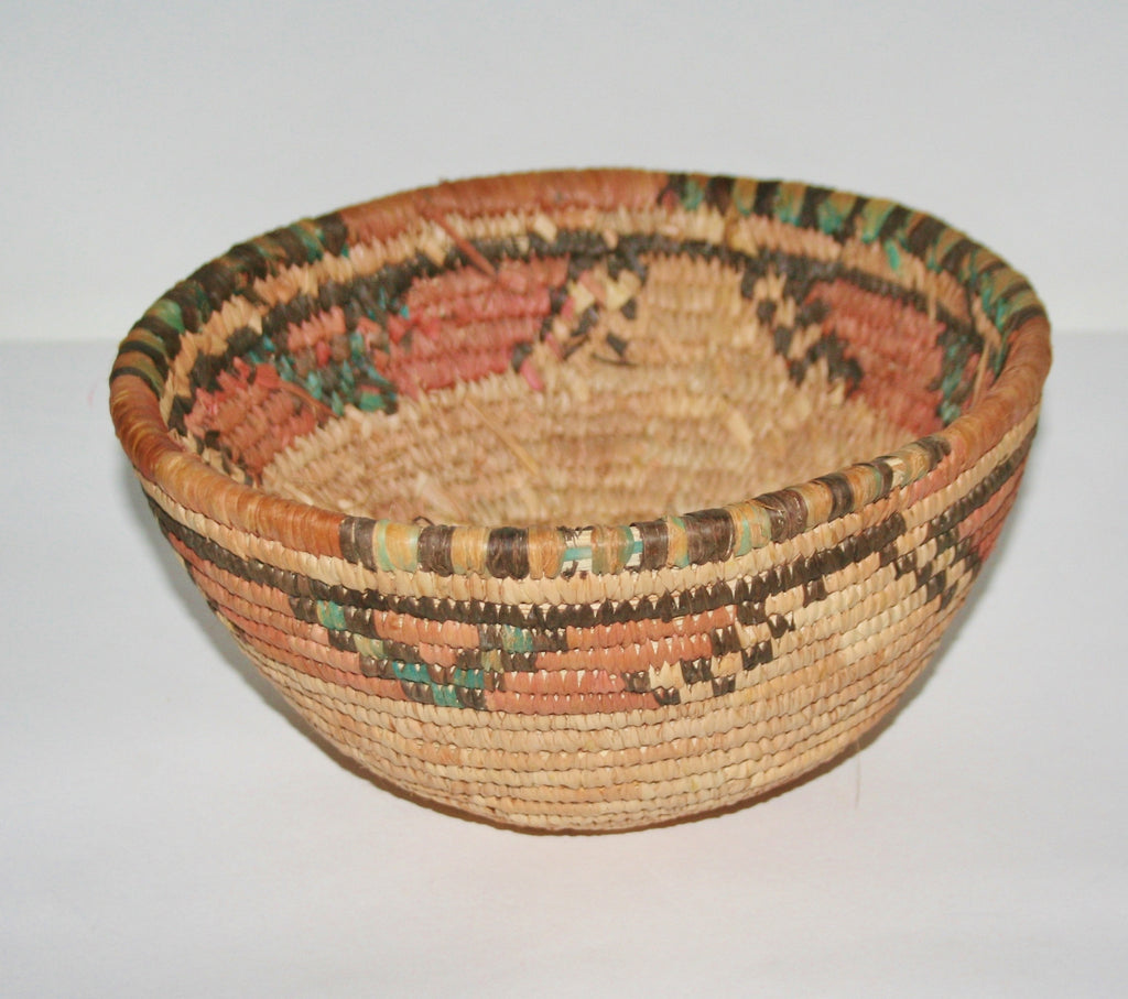 African Coiled Grass Hausa Bowl Basket - Nigeria Vintage 10