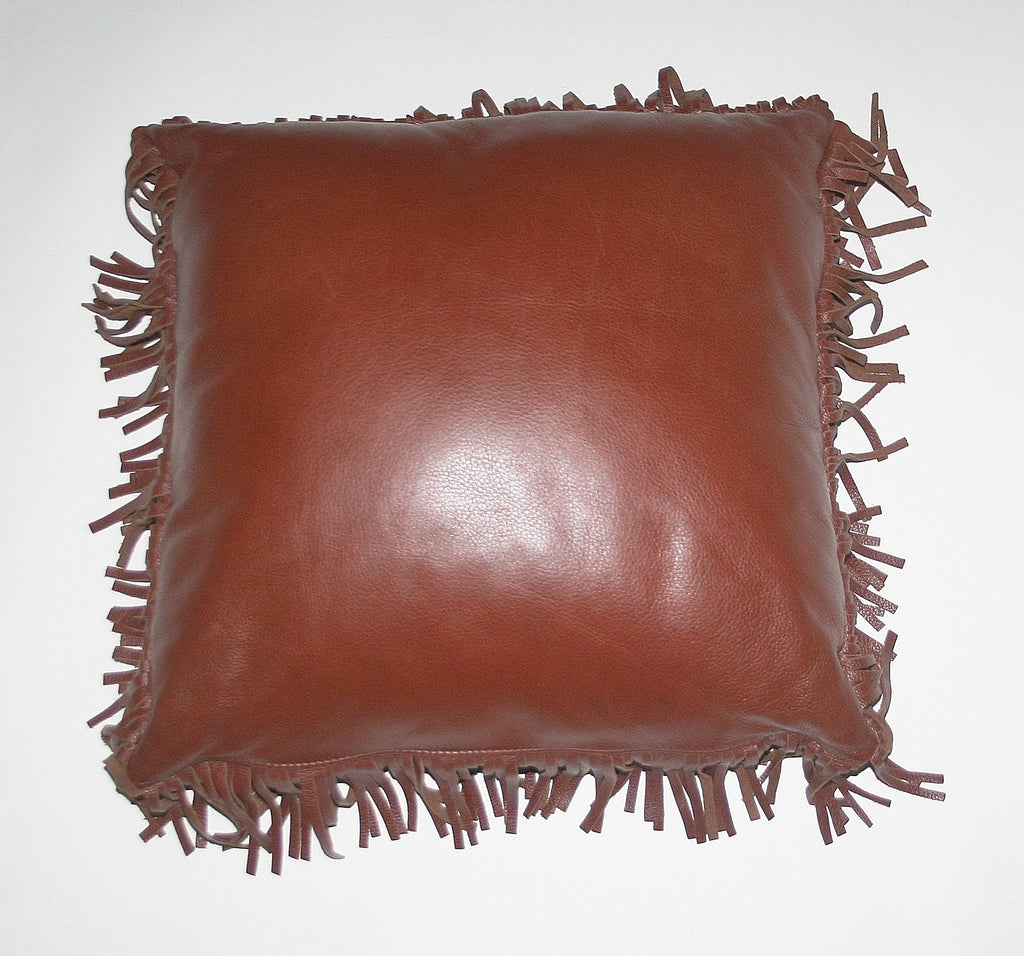 Authentic Full Grain Leather and Suede Fringed Pillow Chestnut Brown