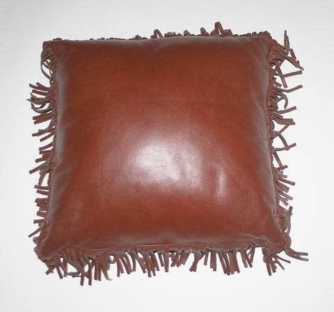 Authentic Full Grain Leather and Suede Fringed Pillow Chestnut Brown - Cultures International From Africa To Your Home