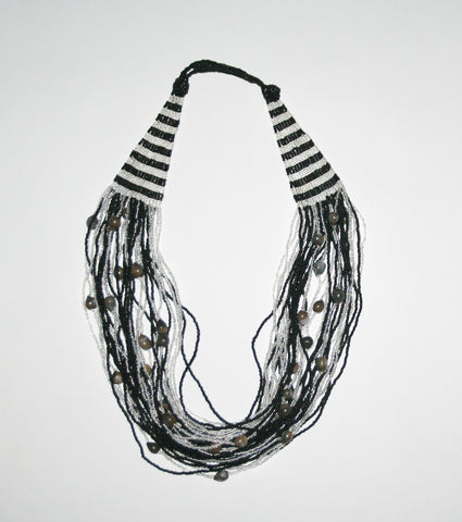 African Bead Necklace Cascade Black White With Imfibinga Seeds