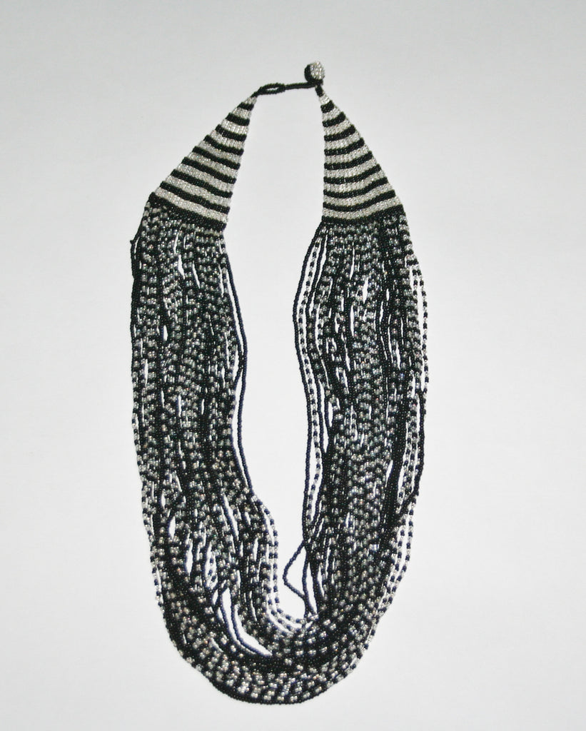 African Seed Bead Necklace Cascade Black White - Cultures International From Africa To Your Home
