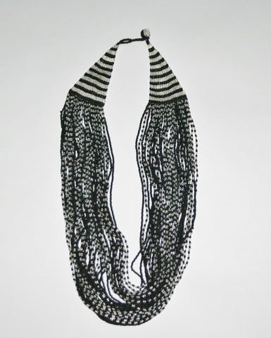 African Seed Bead Necklace Cascade Black White