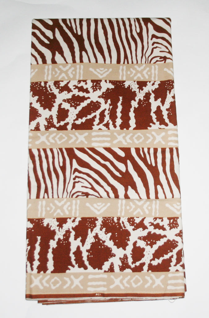 African Fabric 6 Yards Animal Print Vlisco Impression de Woodin Classic - Cultures International From Africa To Your Home
