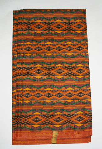 African Fabric 6 Yards Geometric Yellow Gold Green Red Vlisco Dutch Java Print - Cultures International From Africa To Your Home
