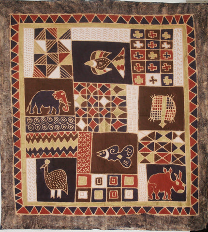 African Batik Tapestry Fabric Elephant, Rhino, Geometric Art in Brown Gold White