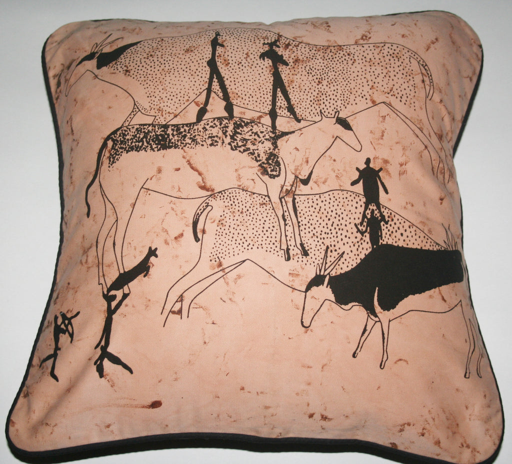 "Pillow Bushman Cave Art Brown Black African Wildlife 16"" X 16"" - Cultures International From Africa To Your Home"