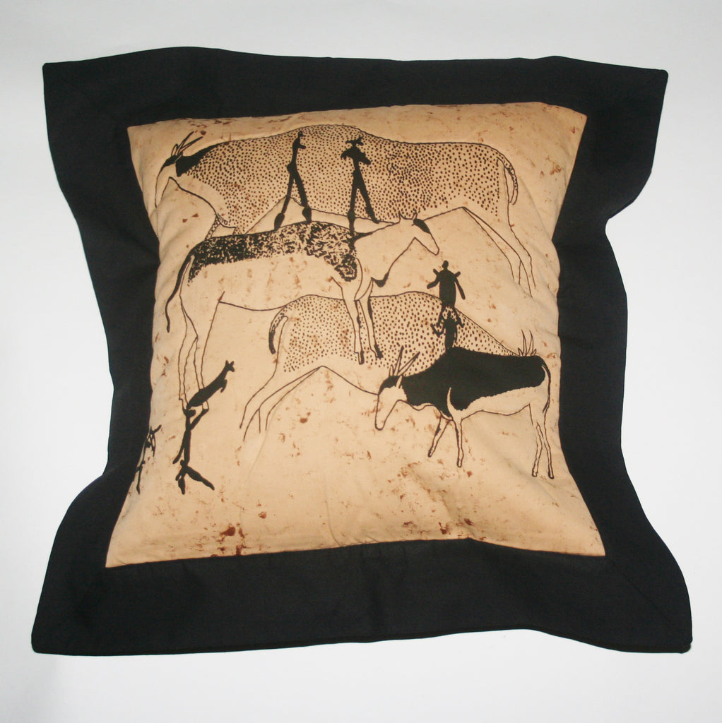 "Tribal African Pillow Quilted Bushman Cave Art Pillow Tan and Black 21"" X 21"" - Cultures International From Africa To Your Home"