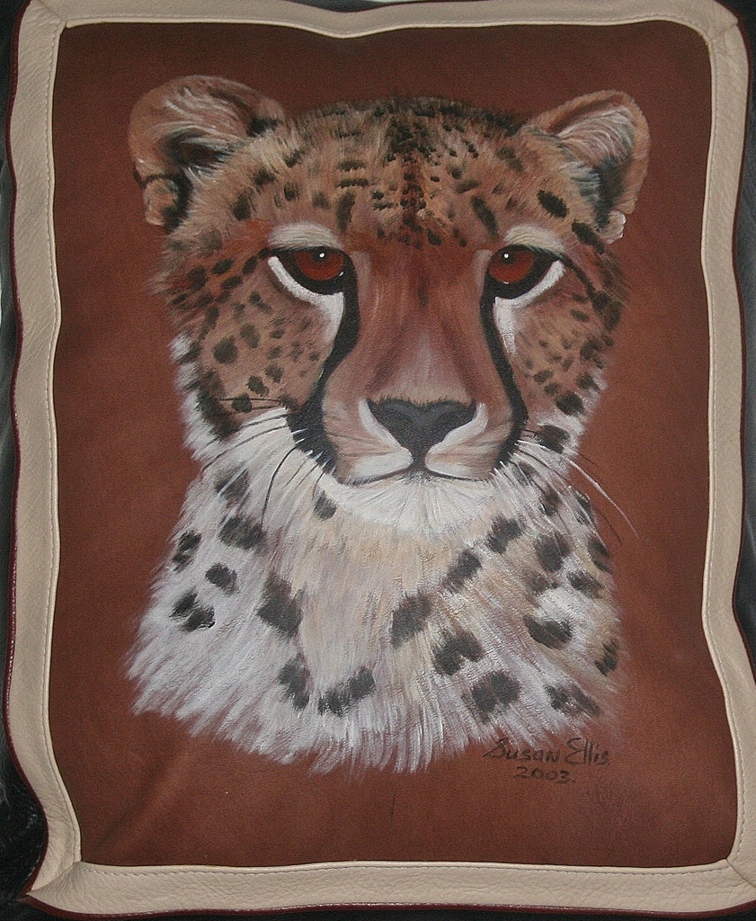 African Leopard Leather Pillow Original Art - Cultures International From Africa To Your Home