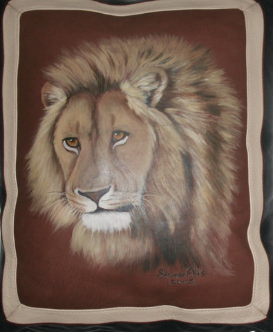 African Lion Original Art Pillow Cover - Cultures International From Africa To Your Home