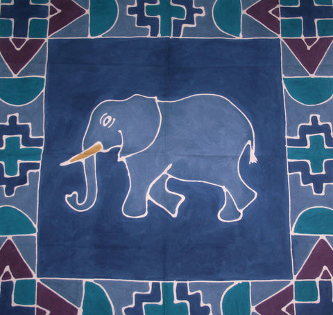 "Elephant Tribal Table Overlay Hand Painted Wall Hanging 29"" X 29"""