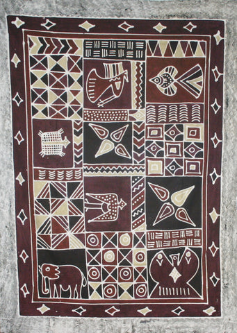 "African Batik Zimbabwe Tapestry 57"" X 78"" Handmade - Cultures International From Africa To Your Home"