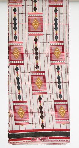 African Fabric 6 Yards Tisse de Woodin Vlisco Classic Red, White, Black