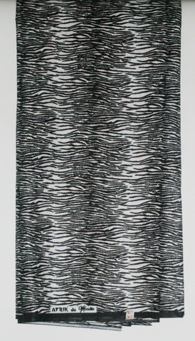 African Zebra Print Fabric 6 Yards Black and White