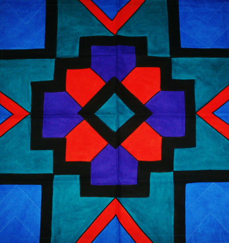 "Geometric African Table Overlay Wall Hanging Multicolored 29"" Sq."