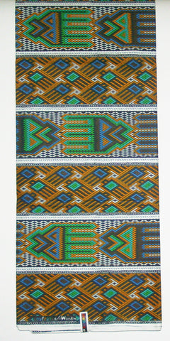 African Fabric 6 Yards Couleurs de Woodin Geometric Wax Print Vlisco Classic - Cultures International From Africa To Your Home