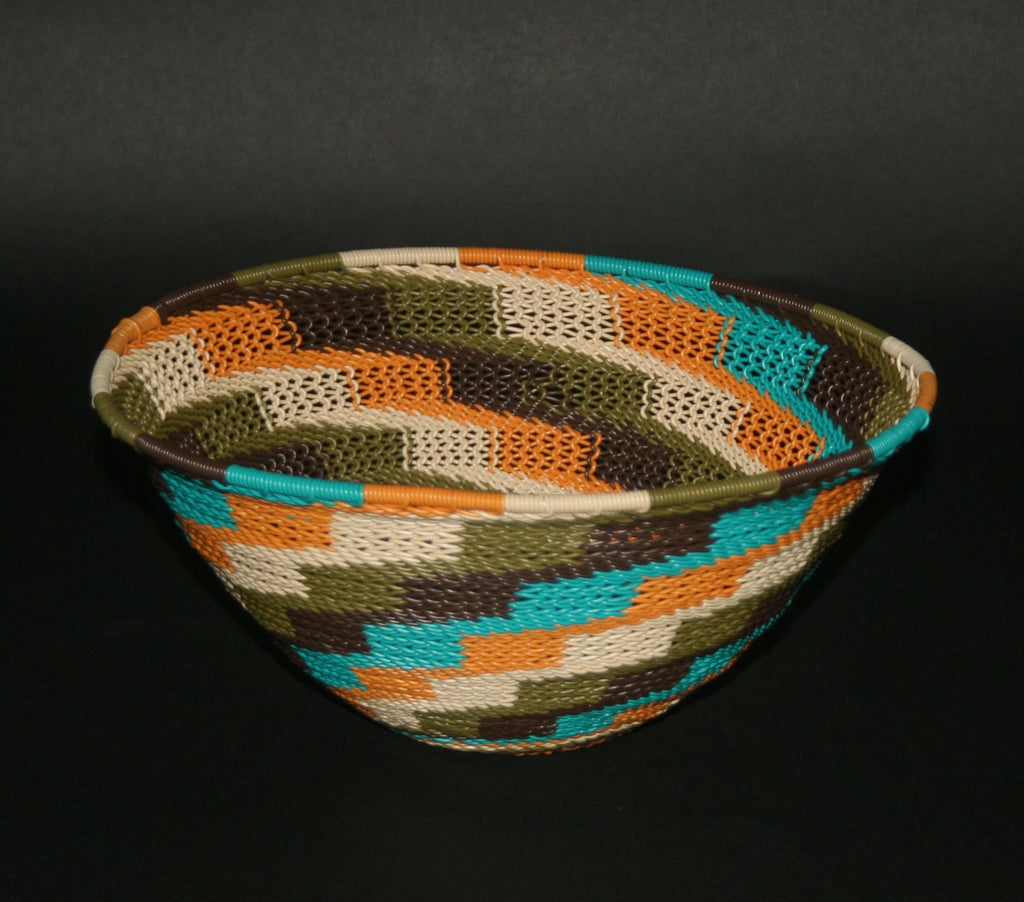 "African Telephone Wire Bowl Zulu Basket Fruit Bowl White Green Turquoise Orange Swirl  7.75"" D X 4"" H - Cultures International From Africa To Your Home"