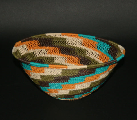 "African Telephone Wire Bowl Zulu Basket Fruit Bowl White Green Turquoise Orange Swirl  7.75"" D X 4"" H"