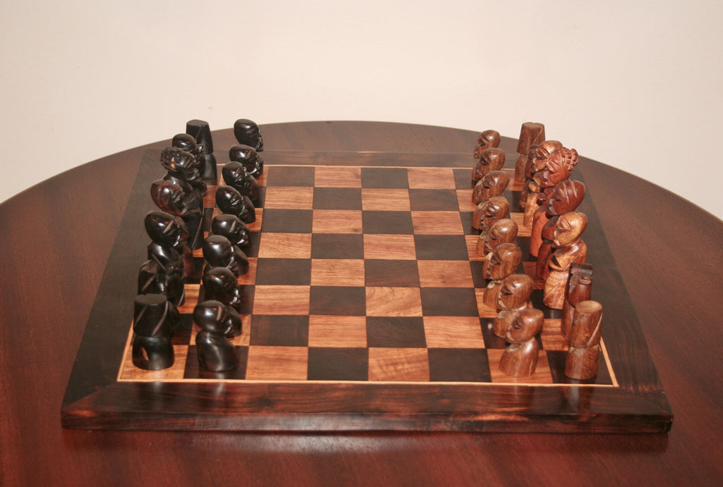 African Chess Set Carved Ebony Wood, Mahogany Sculptured Tribal Figures Vintage - Cultures International From Africa To Your Home