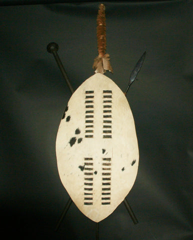 "African Zulu Shield Spear and Club Knob-Kerrie Vintage Isihlangu Vintage 59""H X 22""W"