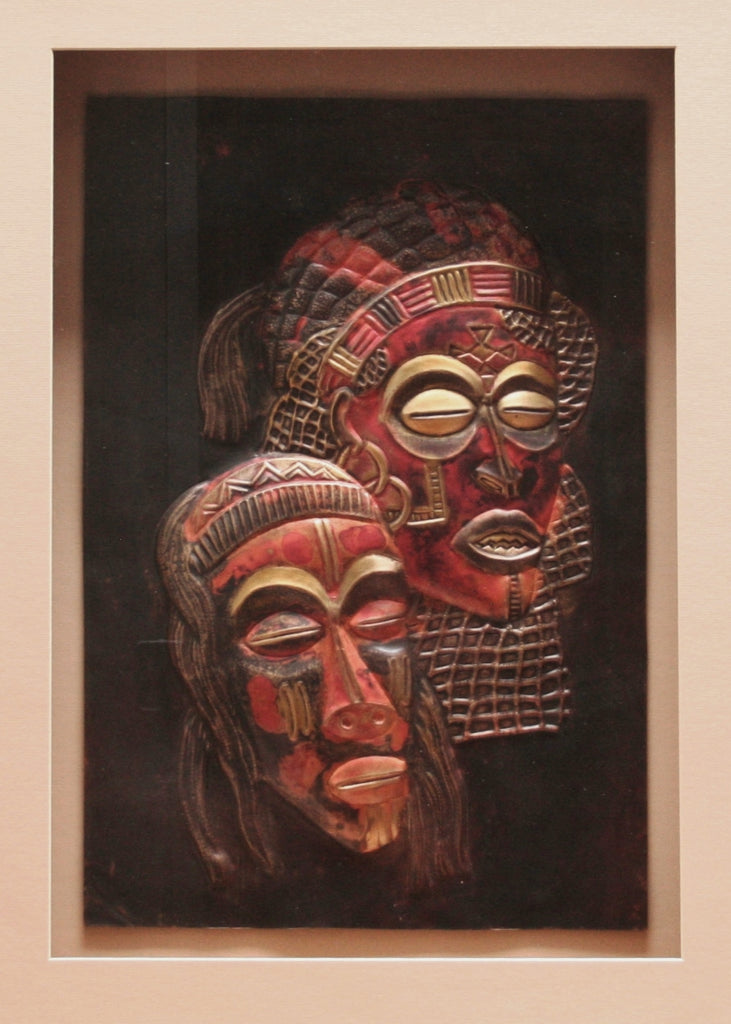 "Mask Copper Chokwe Relief Art in Custom Shadow Box Handcrafted Wood 25""W X 33""H X 3.5""D - Cultures International From Africa To Your Home"