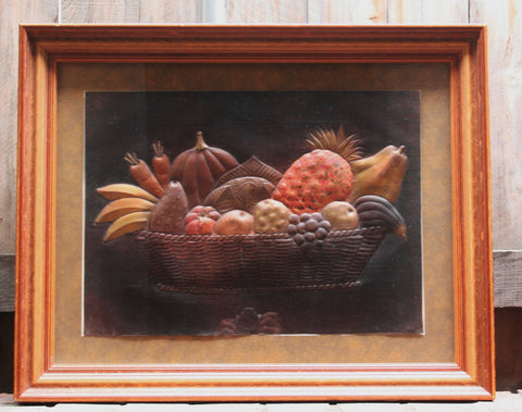 Copper Art Still Life Relief in Shadow Box Frame in Custom Handcrafted Wood