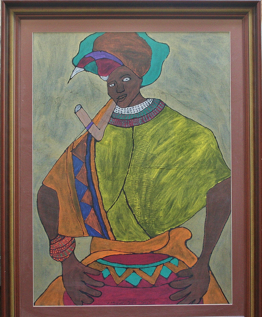 "African Painting Xhosa Tribal Woman Smoking Pipe 34""W X 44""H X 2""D - Cultures International From Africa To Your Home"