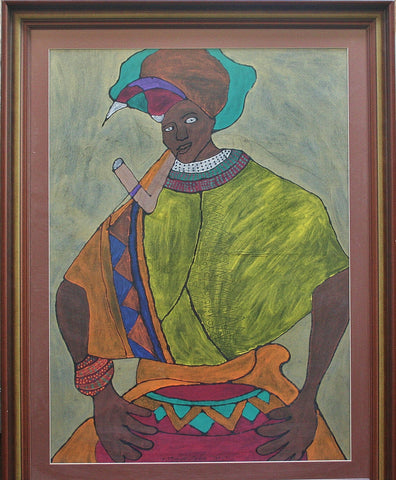 "African Painting Xhosa Tribal Woman Smoking Pipe 34""W X 44""H X 2""D"