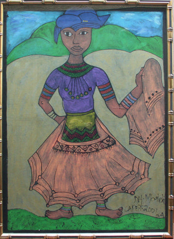 "African Painting Xhosa Tribal Young Woman Traditional Dress 39.5""H X 29""W"