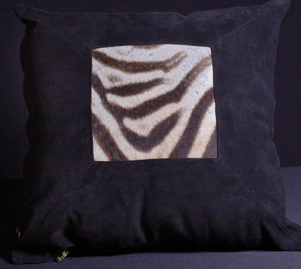 African Suede Zebra Inlay Pillow Black - Cultures International From Africa To Your Home
