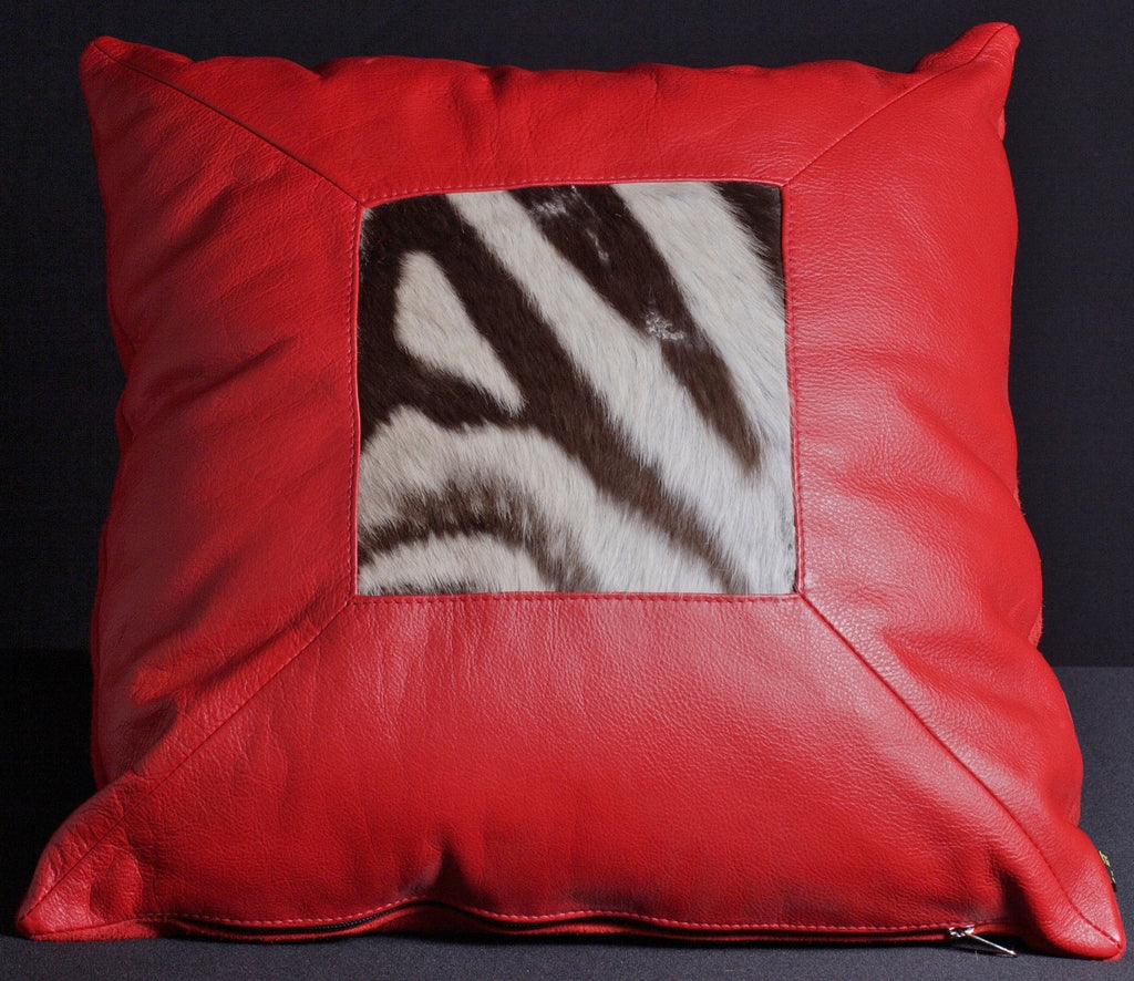 African Red Leather Zebra Inlay Pillow - Cultures International From Africa To Your Home