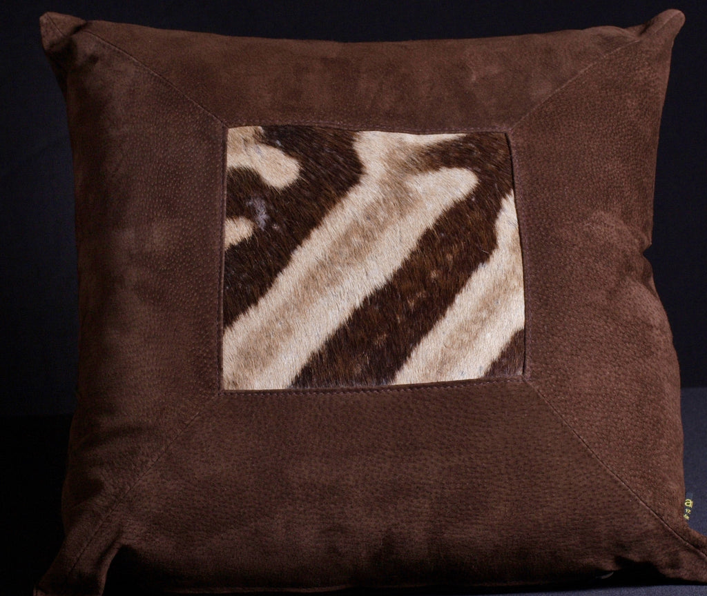 African Suede Zebra Inlay Pillow Brown - Cultures International From Africa To Your Home