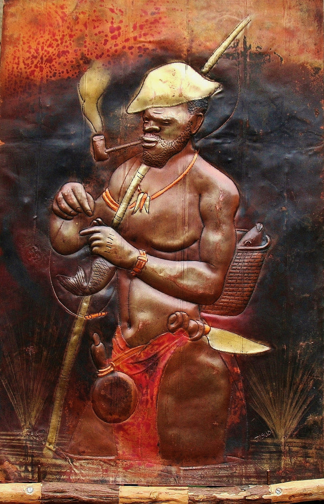 "African Copper Art Fisherman With Pipe and Rod - Congo - 23.5"" X 15.5"" - culturesinternational  - 1"